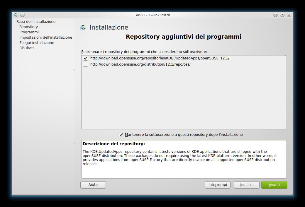 One-Click Install: aggiunta automatica del repository per Amarok