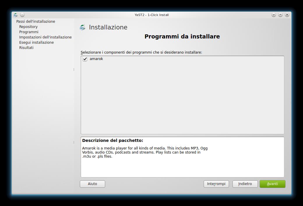 One-Click Install: selezione automatica di Amarok tra i programmi da installare